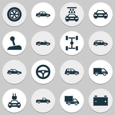汽车图标设置。运输清洁、 汽车、 汽车和其他元素的集合。此外包括汽车、 电池、 轴距等符号