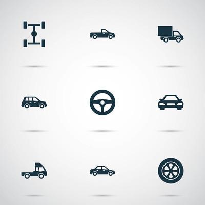 汽车图标设置。面包车、 卡车、 汽车和其他元素的集合。此外包括交叉、 卡车、 汽车等符号