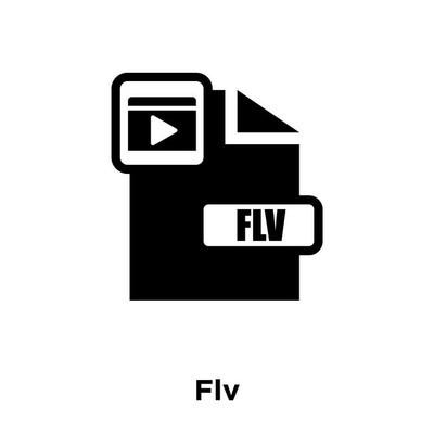 flv 图标矢量被隔离在白色背景上, 在透明背景下的 flv 标志概念, 填充黑色符号