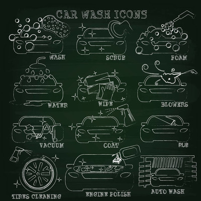 Car wash chalk  on blackboard