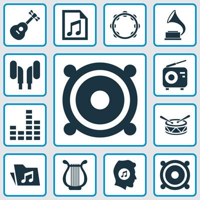 音乐图标集。文件、 手鼓、 桶和其他元素的集合。此外包括符号如桶、 收音机、 留声机