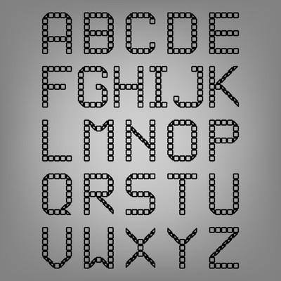 Pixel font isolated vector set. Set of vector pixel alphabet