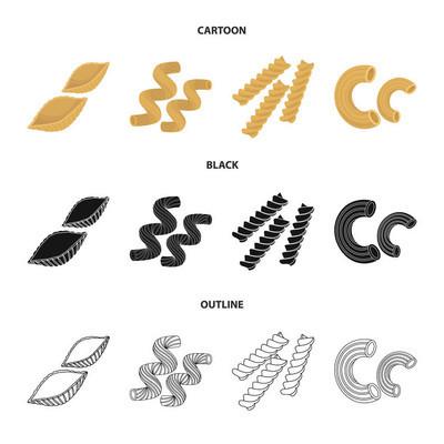 不同类型的面食。类型的面食集合图标在卡通, 黑色, 轮廓风格矢量符号股票插画网站