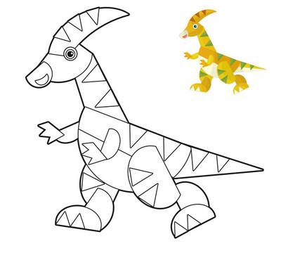 着色页为儿童卡通恐龙简笔画