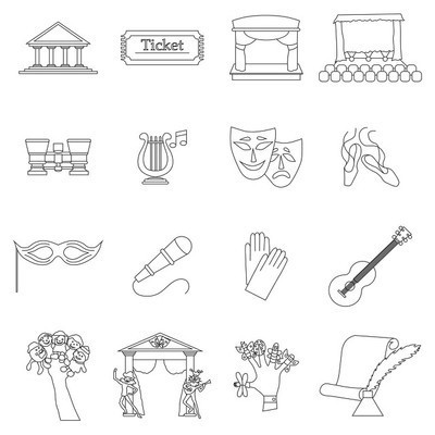 艺术文化图标设置,细线条样式