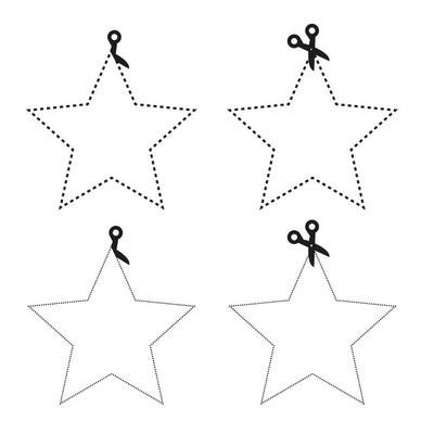 剪刀裁纸的五角星形状