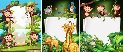 与野生动物的横幅设计