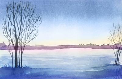 冬季景观。水彩风景图。圣诞 b