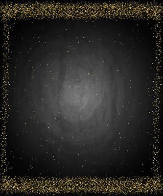 黑色的黑板黑板海报背景与金色的尘埃