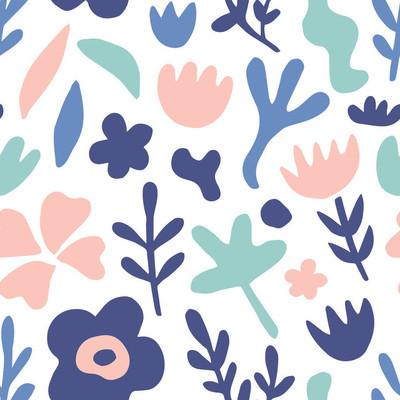 手绘花卉无缝重复图案