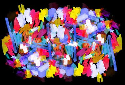 明亮的色彩抽象绘画在孟菲斯风格