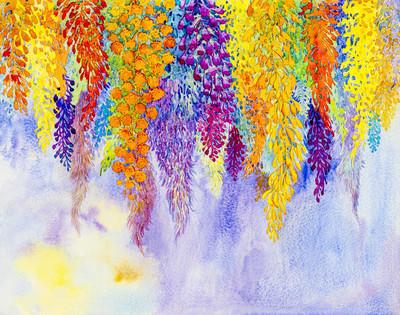 水彩原创山水花画想象色彩