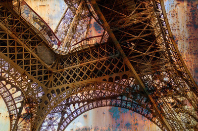 Rusty background  with Eiffel tower 5