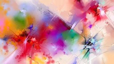 抽象多彩油画画布上。半抽象的花,黄色和红色与蓝色颜色的图片