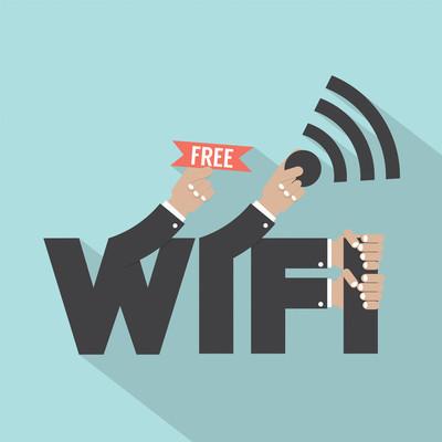 免费 wifi 上网的版式设计矢量图