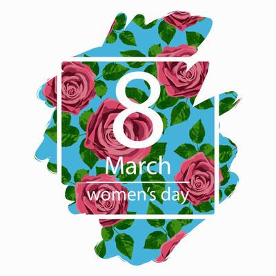 3 月 8 日设计卡与玫瑰的花儿。国际妇女日背景。矢量图