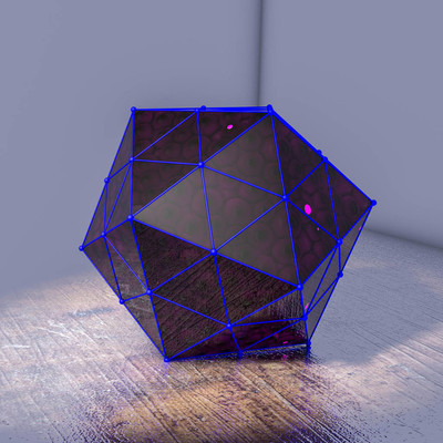 transparent three-dimensional crystal figure with balls inside. 3D rendering