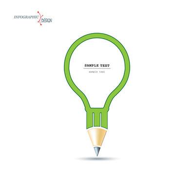 一支铅笔的灯泡形式的创意设计。单位