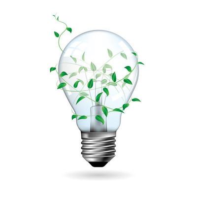 大创意设计, 灯泡包裹的植物. 背景是白色的