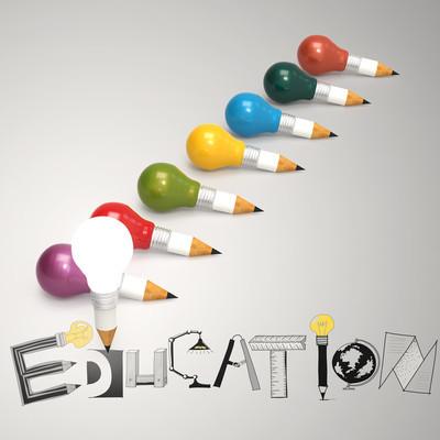 创意设计手绘教育词和灯泡作为 3d