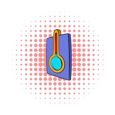 温度计图标,漫画风格
