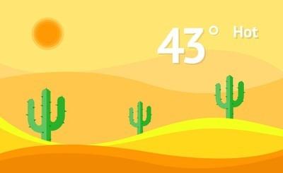 小部件热天气矢量背景。界面设计图