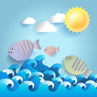 夏季背景与鱼 and 联合国,纸 style.vector 图