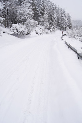 在雪道上走