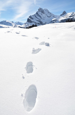 Footsteps on  snow in Swiss Alps