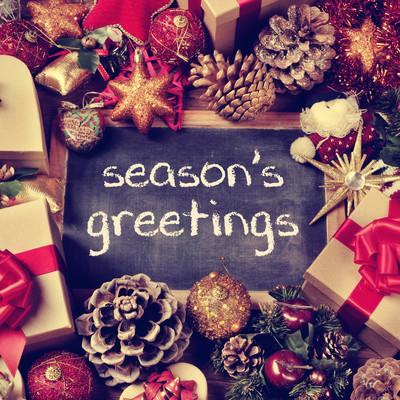 文本季节的问候,礼物和圣诞饰品,复古 eff