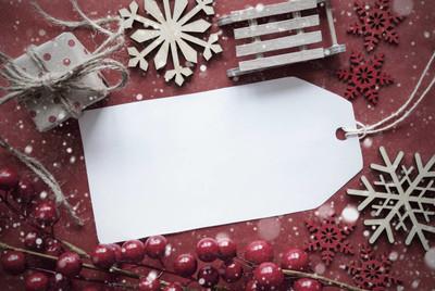 怀旧的圣诞节装饰,标签与副本空间