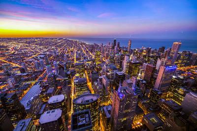 市中心的芝加哥鸟瞰图