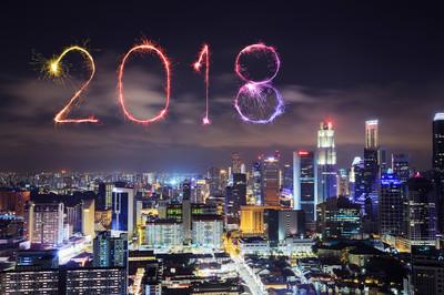 2018春节烟花爆竹与新加坡城市夜景