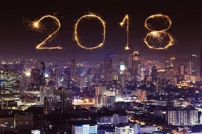 2018新年快乐烟花与曼谷城市夜景, Th