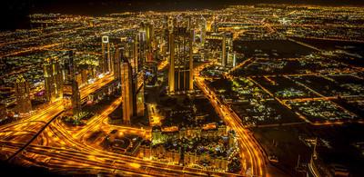 在晚上的市中心迪拜