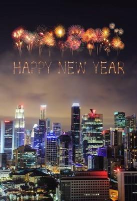 新加坡城市风光新年烟花闪耀
