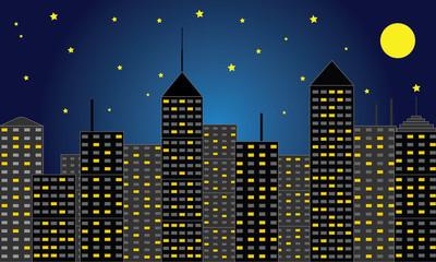 摩天大楼城市的夜晚