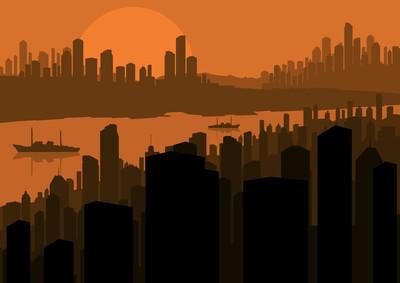 摩天大楼城市景观图