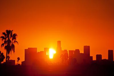 市中心日出洛杉矶