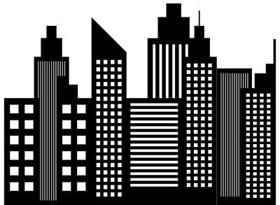 现代城市的天际线摩天大楼剪影