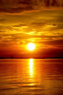 在黄昏的夕阳。美丽的云彩金色天空
