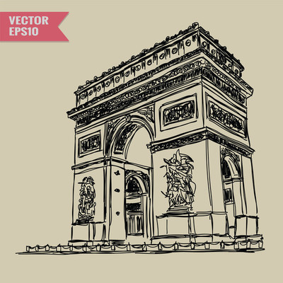 Free hand sketch World famous landmark collection : Arc de Triomphe, Paris, France.