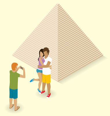 Couple  making photo  Near  Egyptian Pyramid