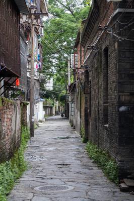 Narrow streets of Guilin on the banks of Li river,  China
