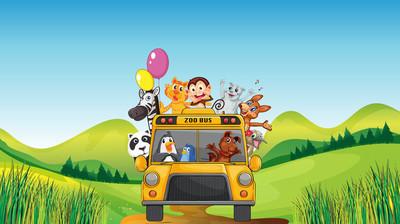 各种动物和动物园公交车