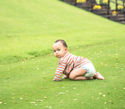 Baby playing  on the grass field