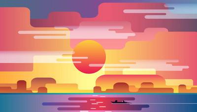 美丽的海上日落