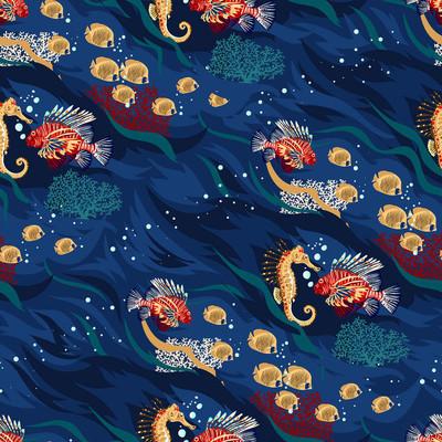 与海洋动物的无缝模式-明亮的珊瑚和热带鱼类