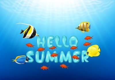 你好夏天与热带鱼的插图