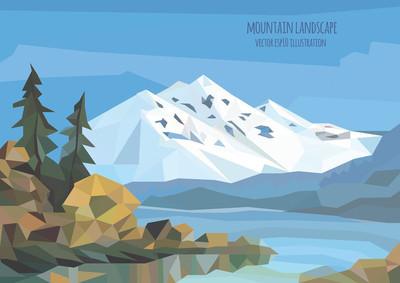 矢量风景图和冰山脉、 湖泊和树